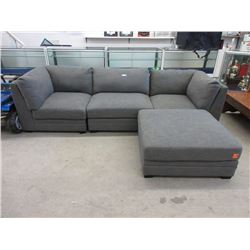 3 Piece Grey Modular Sofa with Large Ottoman