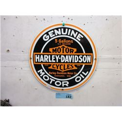 Enameled Steel Harley Davidson Round Sign