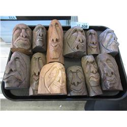 12 Signed First Nations 2D Wood Carvings