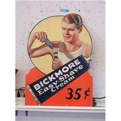 Vintage Cardboard Bickmore Shave Cream Sign