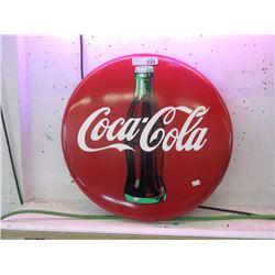 "1990 Round 20"" Metal Coca-Cola Button Sign"