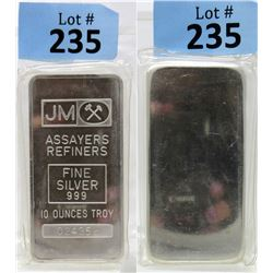 10 Oz Blank Back Johnson Matthey .999 Silver Bar