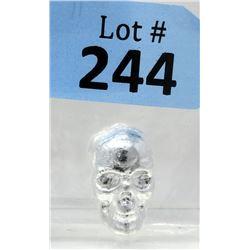 1Ounce .999 Silver 3D Skull Bar