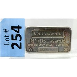 1 Oz National Refiners .999 Silver Bar