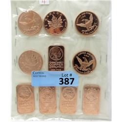 10 One Oz .999 Fine Copper Bars and Rounds