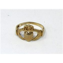 10KT Yellow Gold Claddagh Ring - Size 8
