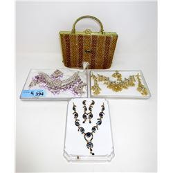 Vintage Purse and 3 New Earring & Necklace Sets