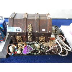 Wood Jewelry Cask & Assorted Fashion Jewelry