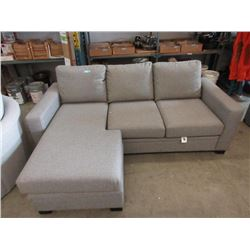 """New 90"""" Stylus Grey Fabric Section with Chaise End"""