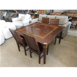 Square Asian Style Dining Table with 4 Chairs