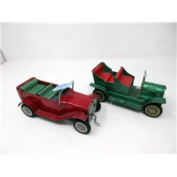 """2 Vintage 7"""" Japanese Friction Toy Cars"""