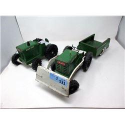 "2 Vintage 21"" Buddy L Tractors & Trailer"