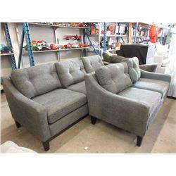 Stylus Grey Fabric Upholstered Sofa  & Loveseat