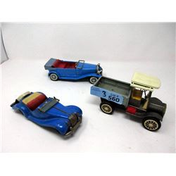 3 Vintage Tin Toy Cars - Longest is 8""