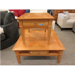 Large Wood Coffee Table & End Table