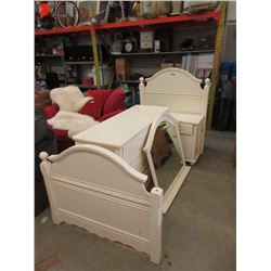 Twin Size Bed, Dresser with Mirror & Night Stand