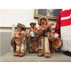 "Five 18"" Mexican Band Ceramic Statues"