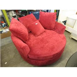 New Stylus Red Chenille Cuddler Chair