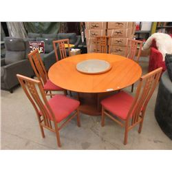 Round Asian Dining Table with 6 Chairs