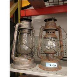 2 Vintage Barn Lanterns - One Has Cracked Glass