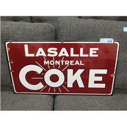 1915 Lasalle, Montreal Porcelain Coke Sign