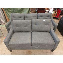 "New Stylus Grey Fabric 82"" Sofa & Loveseat"