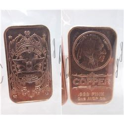 "Ten 1 Oz. .999 Fine Copper ""Indian Head"" Bars"