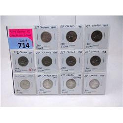 11 Vintage Canadian .800 Silver Quarters