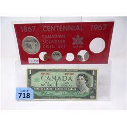 1967 Canadian Centennial Coin Set and $1 Bill