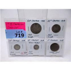 """1918 Canadian """"King George V"""" 5 Coin Set"""
