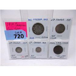 """1919 Canadian """"King George V"""" 5 Coin Set"""