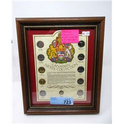 Framed Canadian Nickel History 11 Coin  Collection