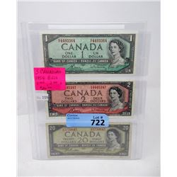 Three 1954 Canadian Bank Notes - $1, $2 and $20