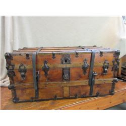 Antique Flattop Ribbed Trunk- Marked AE Meek Trunk and Bag Co.  Manufacturer, Denver Colo