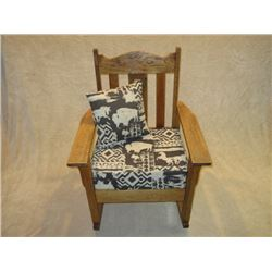 Oak Rocker- Buffalo and Horse Upholstered