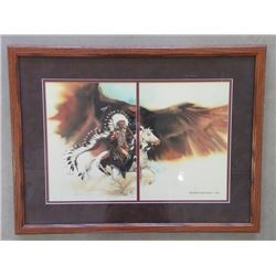 "Marked Bev Doolittle ""Rushing War Eagle"" 1983 Print- 24""W X 18""H"