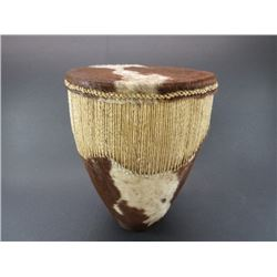 "Cowhide Indian Drum- 10.5"" X 8""H"