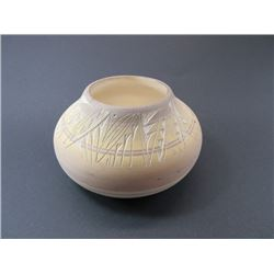 "Signed KNHO Navajo USA Pot- Etched- 7.5""W X 4.5""H"