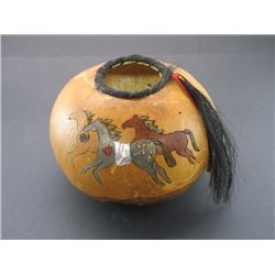 "Marked 1909 KA Gourd Pot- Horsehair- Beads- Running Horse Scene- Aluminum Tab- 10""W X 7.5""H"