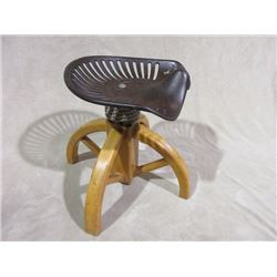 "Marked Walter A Wood Tractor Seat Stool- Cast Iron- 24.5"" Base X 22"" H"