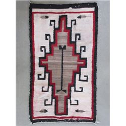 "Unmarked Ganado Rug- Prayer Feathers- Lazy Lines- Hooked Extensions- Circa 1920- 25""W X 43""L"