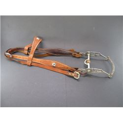 Basket Stamped Headstall with Fleming Silver Overlaid Bit- Santa Maria Cheek Frog Mouth