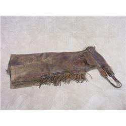 "Unmarked Basket Stamp Step In Chaps- Fringed- Snaps on Pockets Are Gone 35""L"