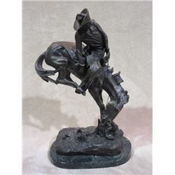 "Marked Copyright By Fredric Remington 30/575 Bronze- Bronc Rider- 14""L X 8.5"" W X 24""H- Base is Loos"