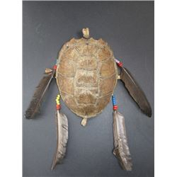 "Beaded and Feathered Turtle Shell- 9""L X 8""W"