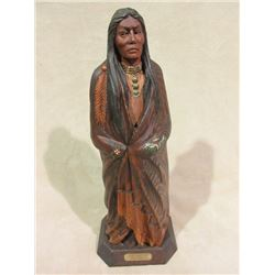 "Marked ""Chief Old Post"" WM Churchill Jr Wooden Statue- Carved by Churchill from a an Old Post"