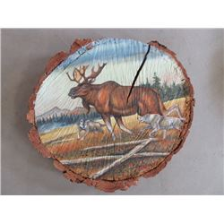 """Signed Polson Moose and Wolf Scene on Red Fir Slab- Original-23""""W X 21""""H X 4""""D"""