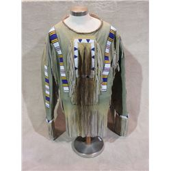 """Contemporary Beaded and Fringed Sioux Shirt With Horsehair- Leather Wrapped Collar- 34""""L"""