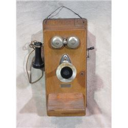 Marked The Dean Electric Co. Elvria OH USA Oak Crank Wall Telephone- Complete