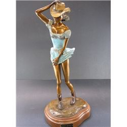"""Signed Lyle Waggoner """"Whoops See Daisy"""" Bronze- 12/25- Spin Base- 10""""Base X 22""""H"""
